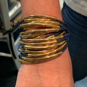 Jewelry - Blue Leather Cord and Gold tone Bars Bracelet